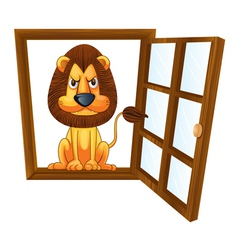 a lion in a window vector image vector image