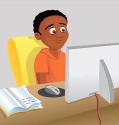 boy studying computer vector image