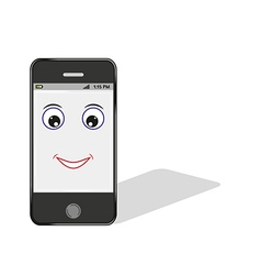comic smartphone with eye and smile vector image vector image