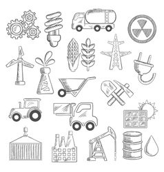 Industry and ecology objects sketches vector image