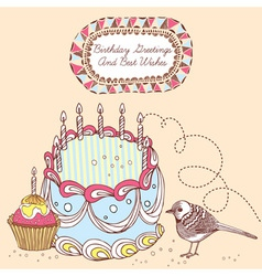 Retro Doodle Birthday Cake Card vector image vector image