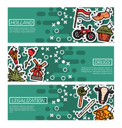 set of horizontal banners about holland vector image