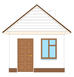 white house with brown door vector image vector image