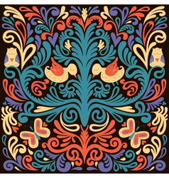 Beautiful colored floral pattern with owl vector image vector image