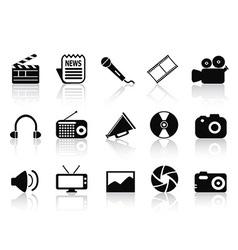 black multimedia icons set vector image vector image