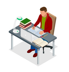 isometric young people and student concept a vector image vector image