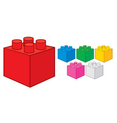plastic building block toy construction elements vector image