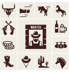 Wild West wanted poster and associated icons vector image vector image