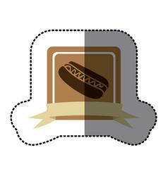 brown emblem hot dog fast food icon vector image