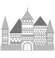 medieval tower coloring book fortress vector image