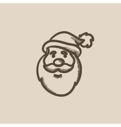 Santa Claus face sketch icon vector image