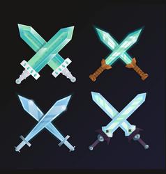 set of crossed medieval swords vector image