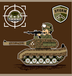 A soldier in armored vehicle cartoon vector