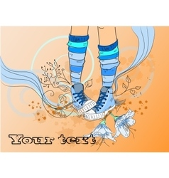 Abstract sneakers on Floral background vector image