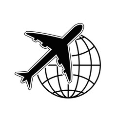 airplane and global sphere icon vector image