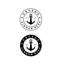 anchor vintage logo design vector image