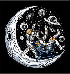 Astronauts having fun on moon vector
