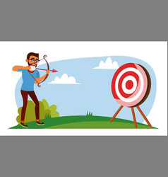 Attainment concept businessman shooting vector