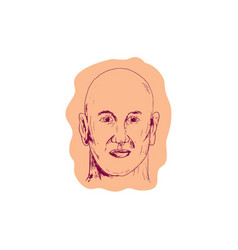 Bald caucasian male head drawing vector