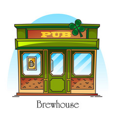 bar or pub facade in thin line brewery brewhouse vector image