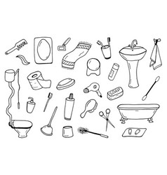 Bathroom accessories collection doodle style vector