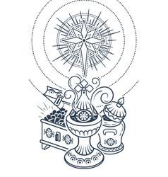 Black frankincense myrrh and gold vector