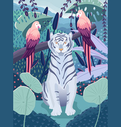 Blue tiger with colorful parrots in a jungle vector
