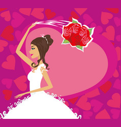 bride throws her wedding bouquet card vector image