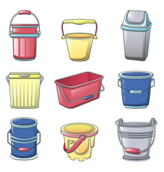 bucket types container icons set cartoon style vector image