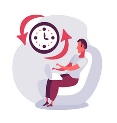 businessman sitting using laptop clock time vector image
