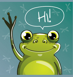 Cartoon frog hi vector
