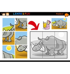 Cartoon rhinoceros puzzle game vector