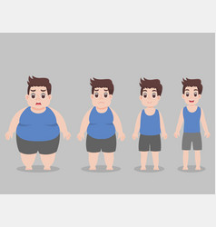 Character big fat man for lose weight lifestyle vector