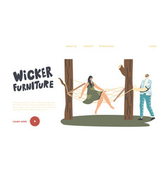 characters relax on wicker furniture landing page vector image