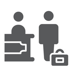 check-in glyph icon hotel and service reception vector image