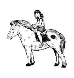 Child girl on pony engraving vector