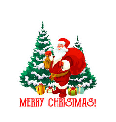 Christmas holiday icon santa claus with gift vector