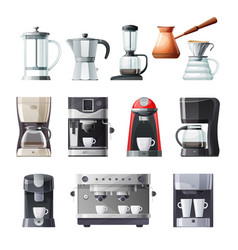 coffee maker and espresso machine cartoon icons vector image