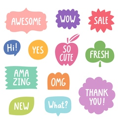 Colorful phrases collection vector image vector image
