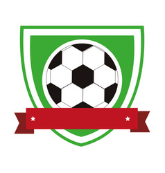 Colorful shield with ribbon with soccer ball vector