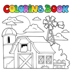 Coloring book farm theme 1 vector