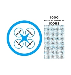 Copter rounded icon with 1000 bonus icons vector