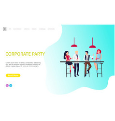 Corporate party coworkers sit table and drinking vector