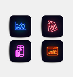 Coupons investment and contactless payment icons vector