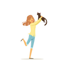 cute brunette girl holding brown cat in hands vector image