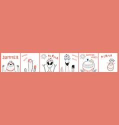 Cute summer animals cards set vector