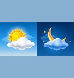 Day and night sky with sun half moon and cloud vector