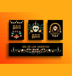 Day of the dead mexican holiday card collection vector