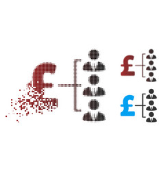 Decomposed pixel halftone staff pound payment icon vector
