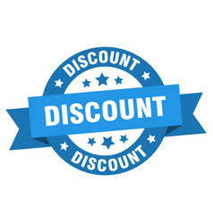 discount ribbon discount round blue sign discount vector image